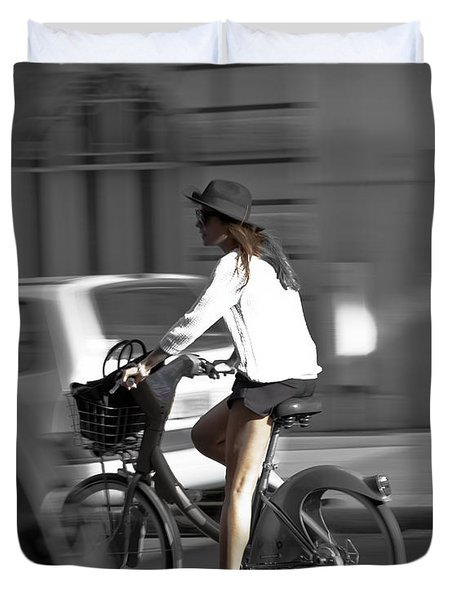 Parisian Girl Cyclist Duvet Cover
