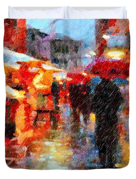 Parisian Rain Walk Abstract Realism Duvet Cover