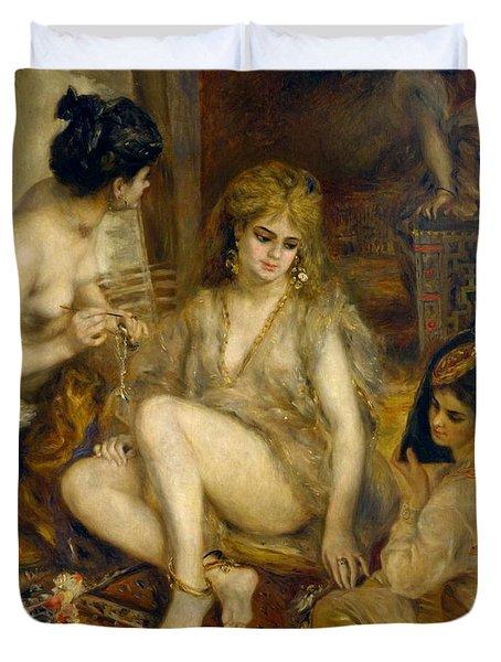 Parisiennes In Algerian Costume Or Harem Duvet Cover by Pierre-Auguste Renoir