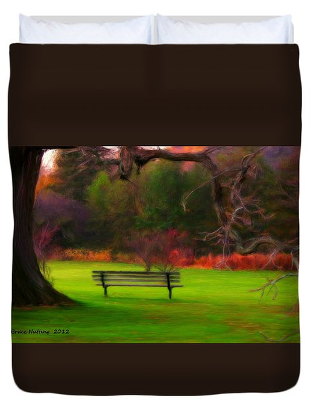 Duvet Cover featuring the painting Park Bench by Bruce Nutting