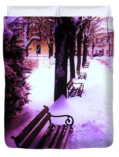 Duvet Cover featuring the photograph Park Benches In Snow by Nina Ficur Feenan