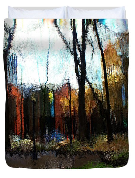 Duvet Cover featuring the mixed media Park Block I by Terence Morrissey