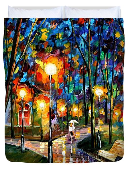 Park By The Lake - Palette Knife Oil Painting On Canvas By Leonid Afremov Duvet Cover