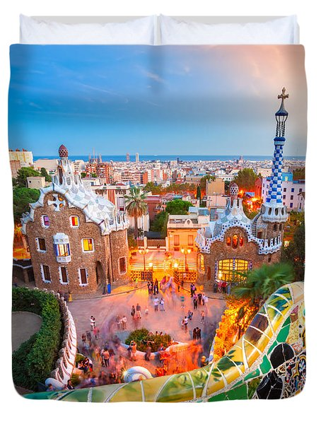 Park Guell In Barcelona - Spain Duvet Cover by Luciano Mortula