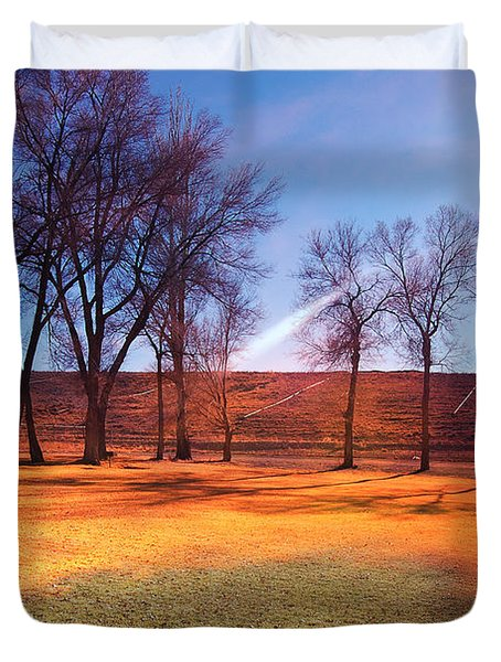 Park In Mcgill Near Ely Nv In The Evening Hours Duvet Cover by Gunter Nezhoda