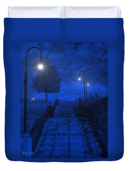 Duvet Cover featuring the photograph Park Stairs by Michael Rucker