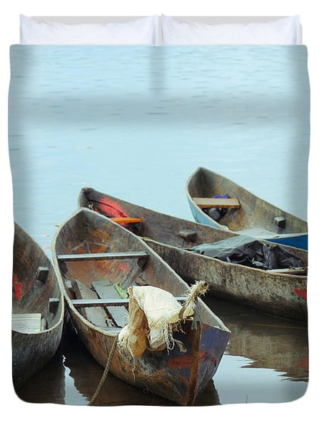 Parking Boats Duvet Cover by Jola Martysz