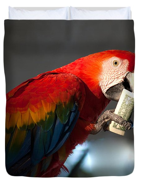 Duvet Cover featuring the photograph Parrot Eating 1 Dollar Bank Note by Gunter Nezhoda
