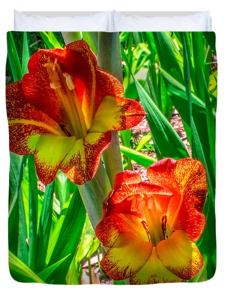 Duvet Cover featuring the photograph Parrot Gladiolus by Rob Sellers