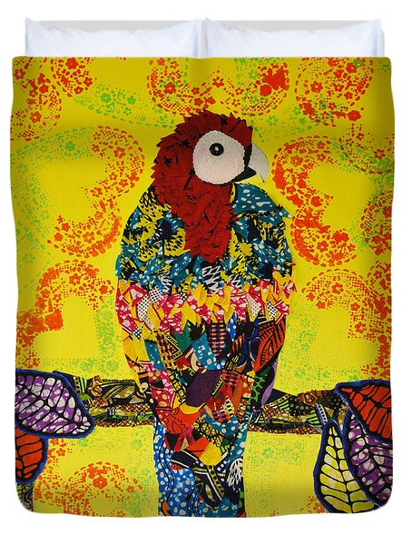 Duvet Cover featuring the tapestry - textile Parrot Oshun by Apanaki Temitayo M