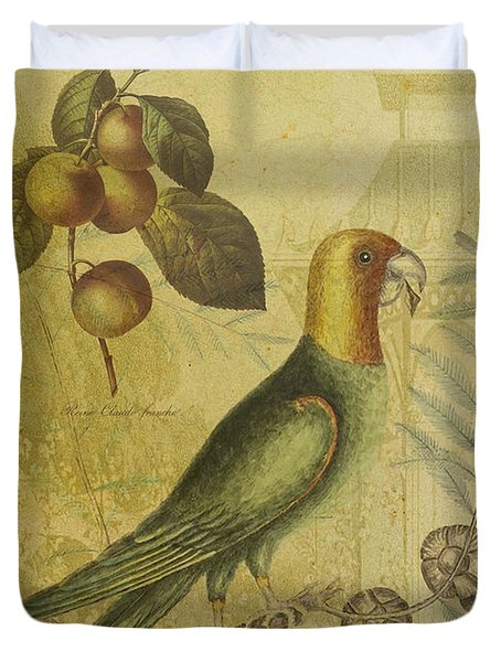 Parrot With Plums Duvet Cover by Sarah Vernon
