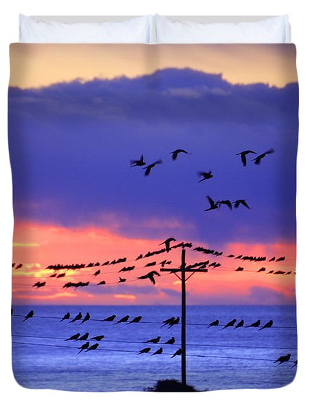 Duvet Cover featuring the photograph Parrots by Bernardo Galmarini