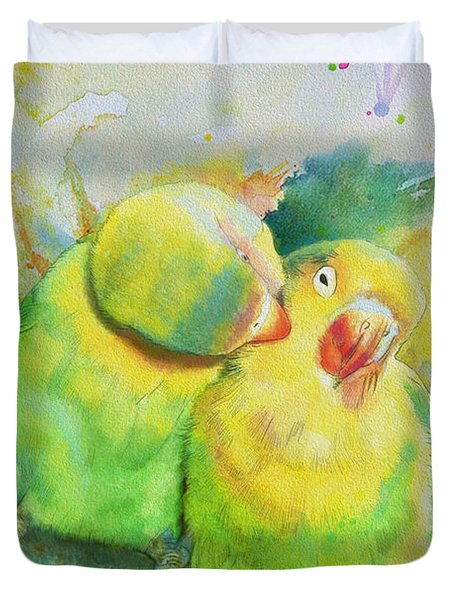 Parrots Duvet Cover by Catf