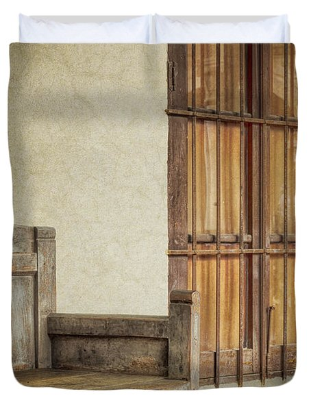 Part Of A Bench Duvet Cover by Joan Carroll