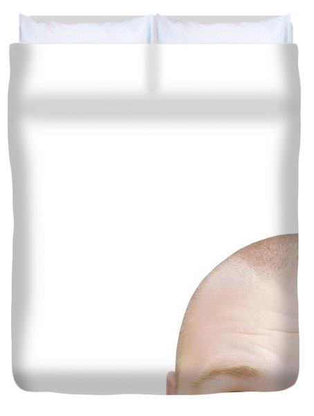 Part Of A Mans Head Looking Sideways Duvet Cover by Chris and Kate Knorr