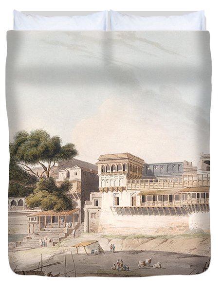 Part Of The City Of Patna, On The River Duvet Cover by Thomas Daniell