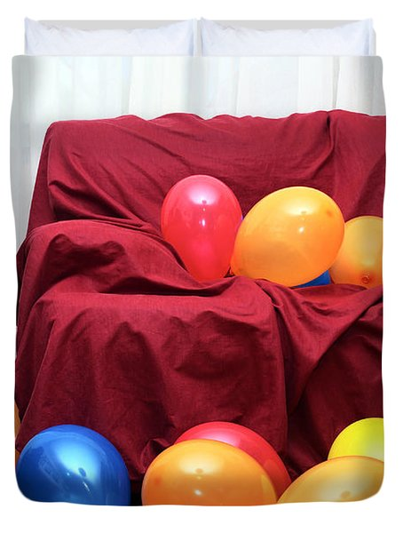 Party Balloons Duvet Cover by Carlos Caetano