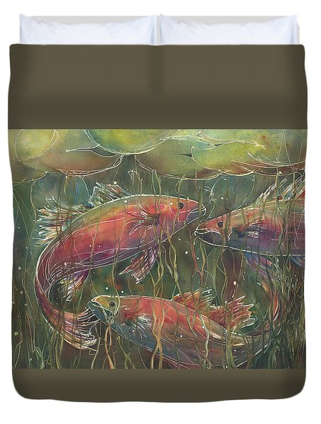 Party Under The Lily Pads Duvet Cover