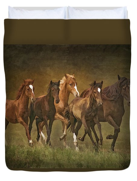 Duvet Cover featuring the photograph Paso Peruvians by Priscilla Burgers