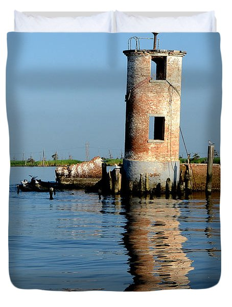 Pass Manchac Lighthouse Duvet Cover