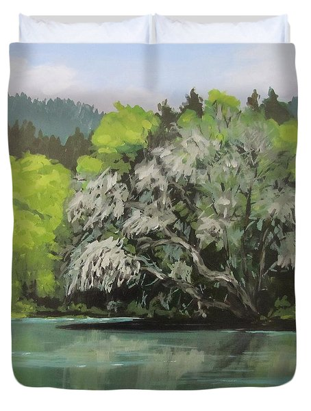 Duvet Cover featuring the painting Passing by Karen Ilari