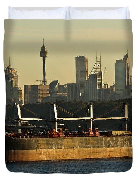 Duvet Cover featuring the photograph Passing Sydney In The Sunset by Miroslava Jurcik