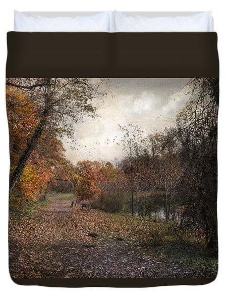 Duvet Cover featuring the photograph Passing Through Hopkins Pond by John Rivera