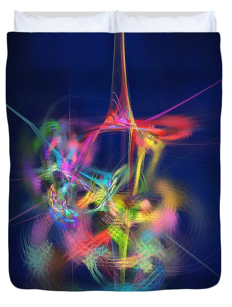Duvet Cover featuring the digital art Passion Nectar - Circling The Flower Of Paradise by Menega Sabidussi