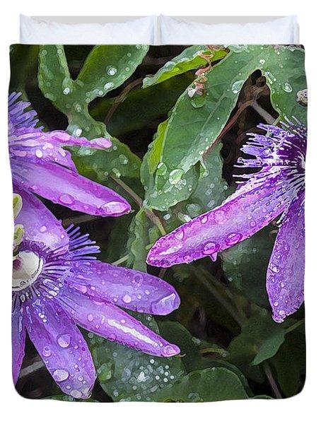 Passion Vine Flower Rain Drops Duvet Cover by Rich Franco