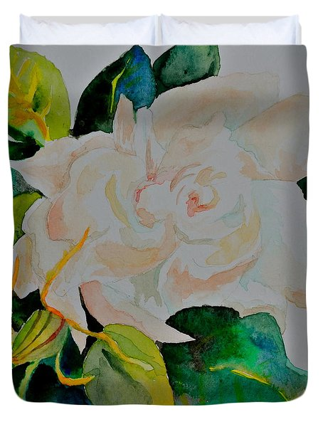 Duvet Cover featuring the painting Passionate Gardenia by Beverley Harper Tinsley