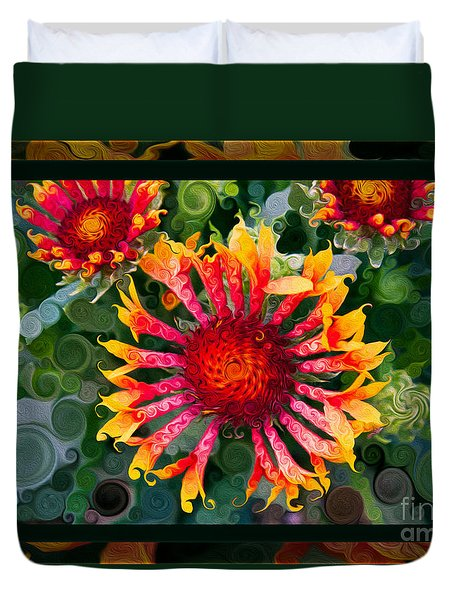 Passionate Pinwheels And Blooming Abstract Flower Art Duvet Cover by Omaste Witkowski