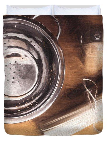Pasta Preparation. Vintage Photo Sketch Duvet Cover
