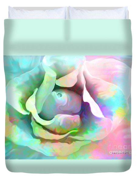 Pastel Color Flower Duvet Cover by Annie Zeno