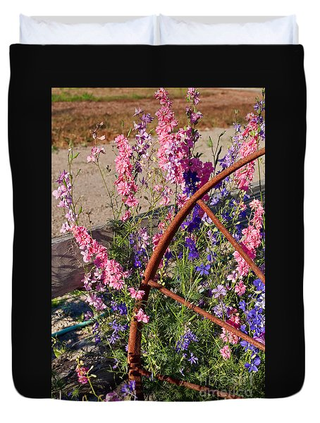 Pastel Colored Larkspur Flowers With Rusty Wagon Wheel Art Prints Duvet Cover