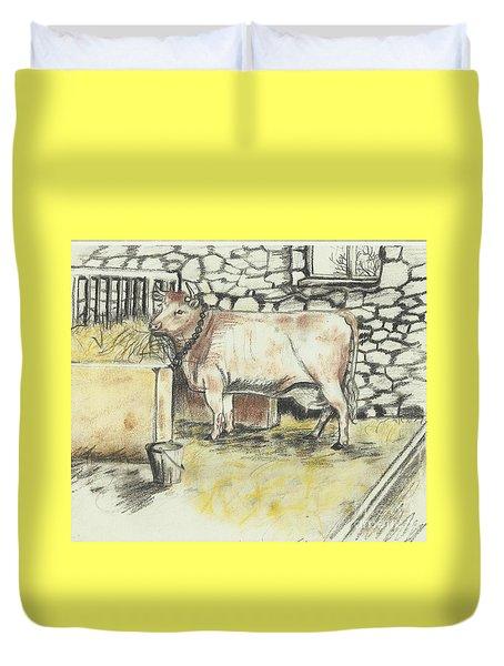 Cow In A Barn Duvet Cover by Francine Heykoop