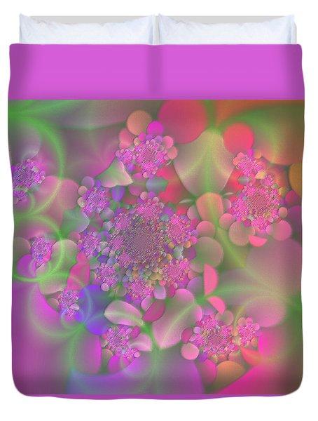 Duvet Cover featuring the digital art Pastel  Fractal Flower Garden by Judi Suni Hall