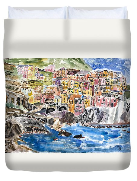 Pastel Patchwork Village Duvet Cover