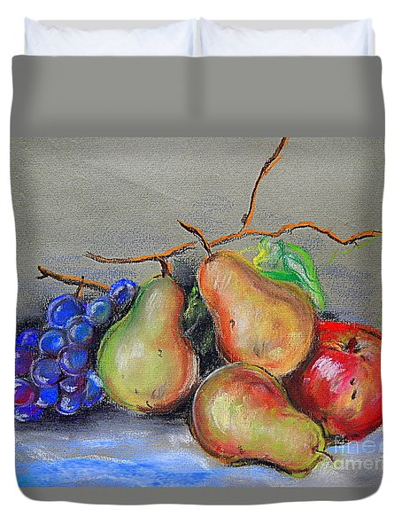 Pastel Pear Still Life Duvet Cover by Michael Hoard