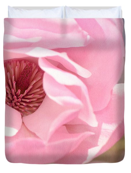Pastel Pink Petals And Paint Duvet Cover by Lisa Knechtel