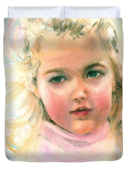 Pastel Portrait Of An Angelic Girl Duvet Cover