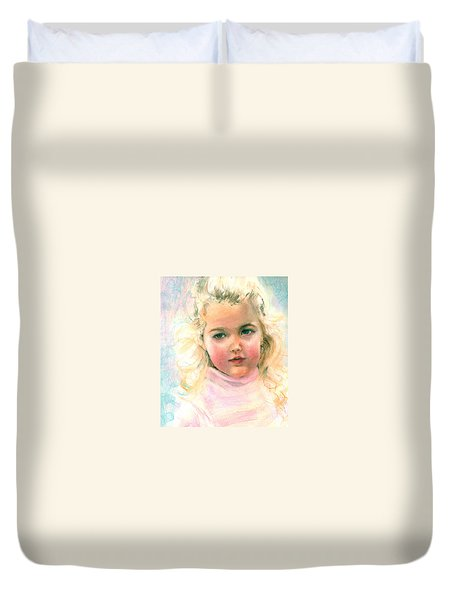 Pastel Portrait Of An Angelic Girl Duvet Cover