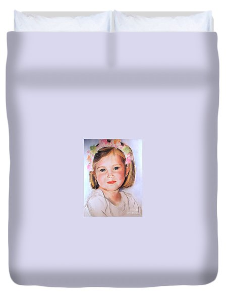 Pastel Portrait Of Girl With Flowers In Her Hair Duvet Cover