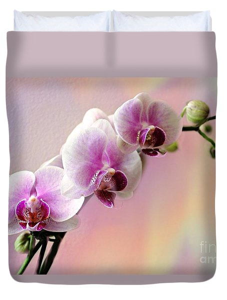 Pastel Rainbow Orchid Duvet Cover by Judy Palkimas