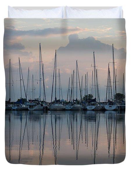 Pastel Sailboats Reflections At Dusk Duvet Cover