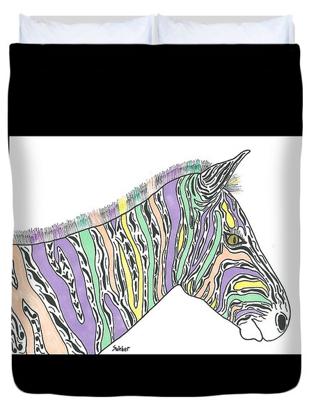 Duvet Cover featuring the painting Pastel Zebra  by Susie Weber
