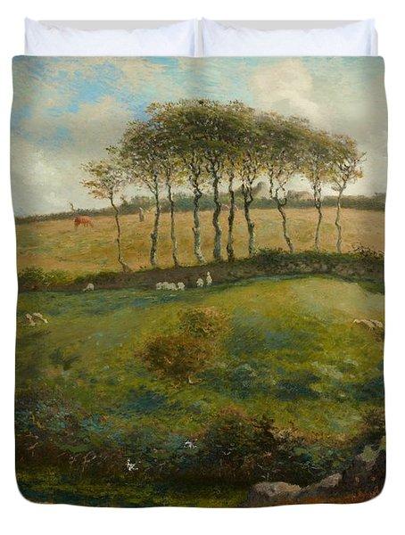 Pasture Near Cherbourg Duvet Cover by Jean-Francois Millet