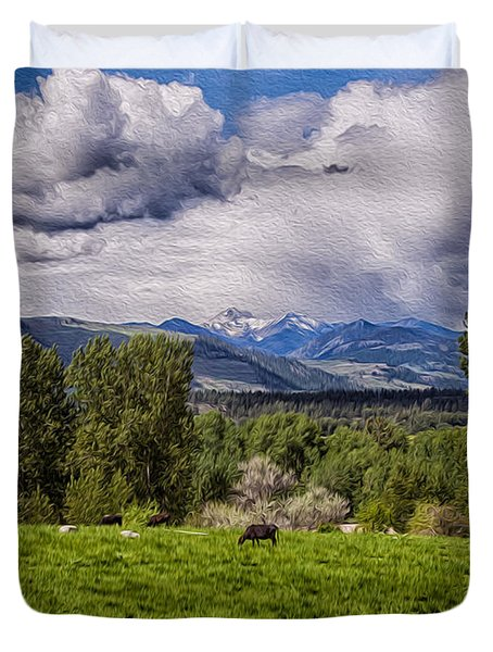 Pastures And Clouds  Duvet Cover by Omaste Witkowski