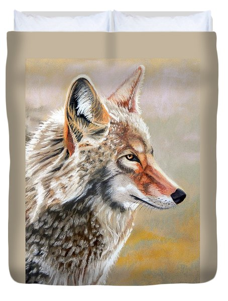 Patchwork Coyote Duvet Cover by Tanya Provines