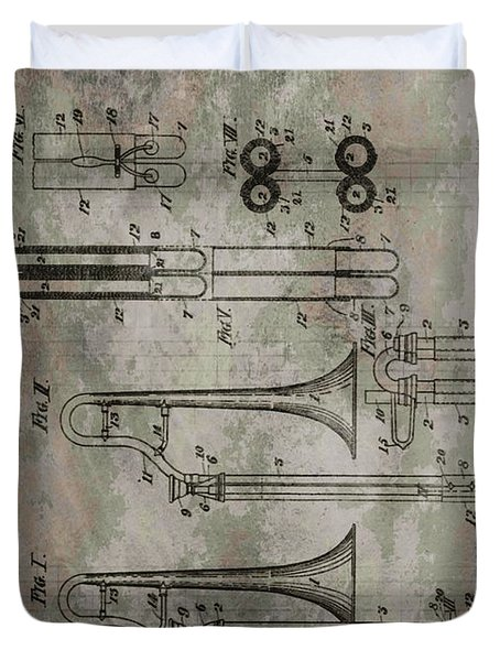 Patent Art Trombone Duvet Cover by Dan Sproul