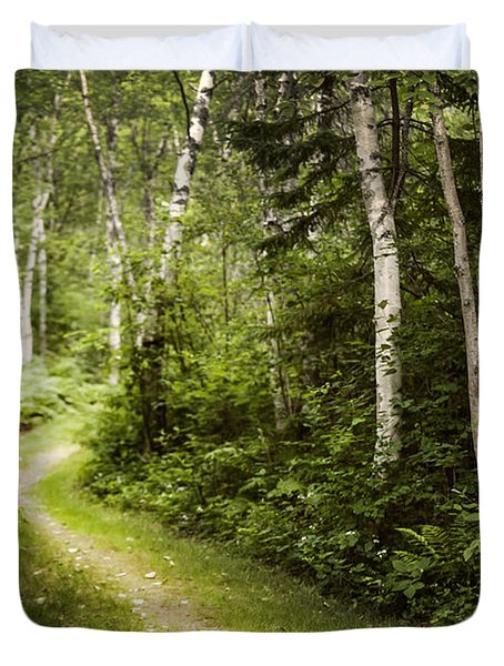 Path In Birch Forest Duvet Cover